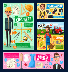 engineer photographer farmer tailor professions vector image