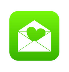 envelope with valentine heart icon digital green vector image