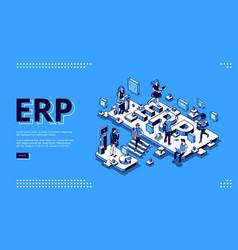 erp enterprise resource planning isometric landing vector image