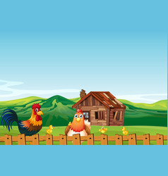 Farm scene in nature with barn and chicken vector