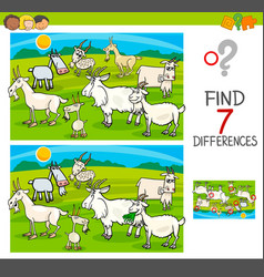 Find differences game with goats animal characters vector