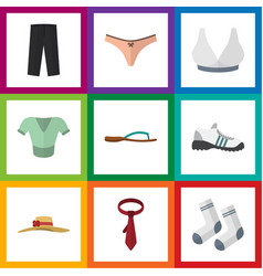 flat icon clothes set of cravat lingerie vector image