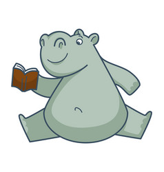 Funny hippo sits in weird position and reads book vector