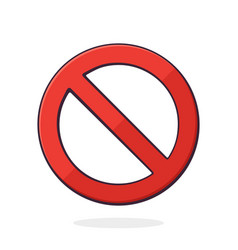 general prohibition sign red circle with red line vector image