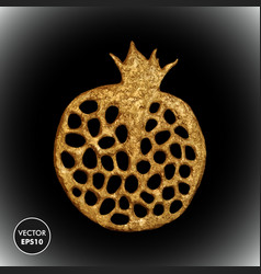 Gold pomegranate stylized vector