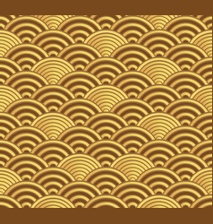 gold seigaiha japanese wave pattern vector image