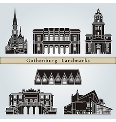 Gothenburg landmarks and monuments vector image