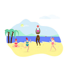 Group of happy girls playing relaxing on beach vector