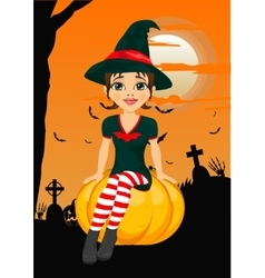 Halloween party with cute witch sitting on pumpkin vector