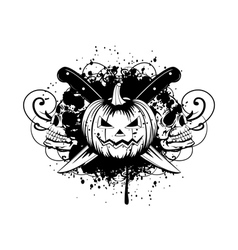 halloween pumpkin with skulls vector image