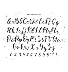 hand drawn alphabet brush painted letters vector image