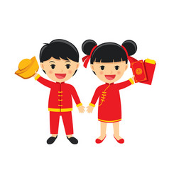 Happy boy and girl in traditional clothes vector