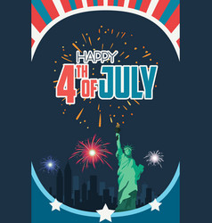 Happy fourth july poster vector
