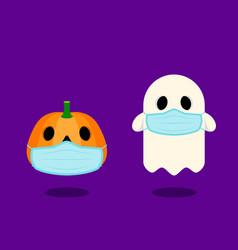 Happy halloween character wearing sanitary mask vector