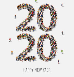 Happy new year 2020 large and diverse group of vector