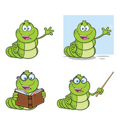 happy worm character collection - 1 vector image