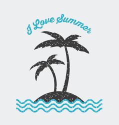 I love summer flat vector