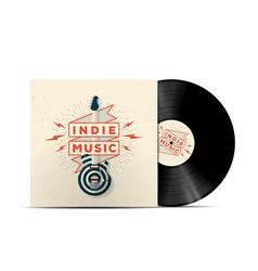 Indie music vinyl disc cover mockup vector