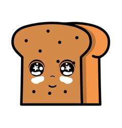 Kawaii cute tender slice bread food vector