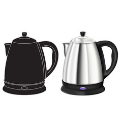 Kettle 3d model and black outline icon vector