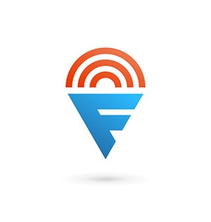 Letter F wireless logo icon design template vector image