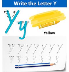 Letter y tracing alphabet worksheets vector