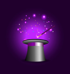 Magic hat with wand on violet mysterious vector