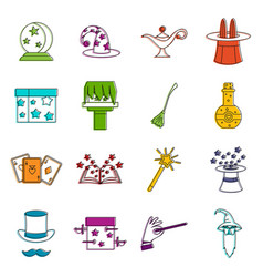 magic icons doodle set vector image