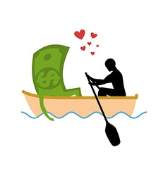 Man and money and ride in boat Lovers of sailing vector image