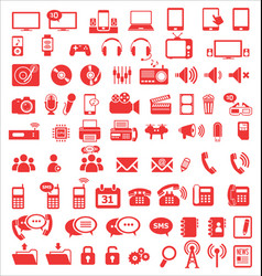 media and communication icons red edition vector image