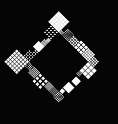 Monochrome geometrical diagonal square badge vector