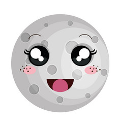 Moon satellite kawaii character vector