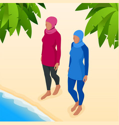 Muslim woman in swimsuit isometric muslim vector