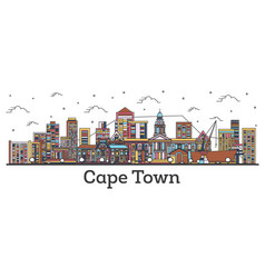 Outline cape town south africa city skyline with vector