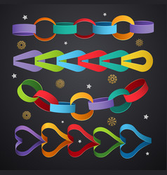 Paper chains colored decoration links vector