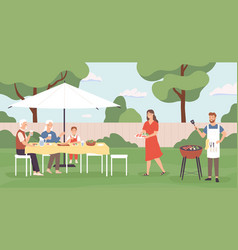 people at barbecue happy family friends spending vector image