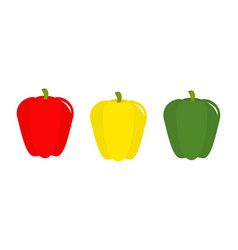 pepper icon set line yellow red green color vector image