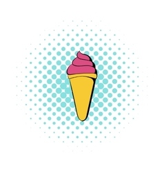 Pink ice cream in a waffle cone icon comics style vector image