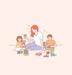 Playing with children nanny mother concept vector