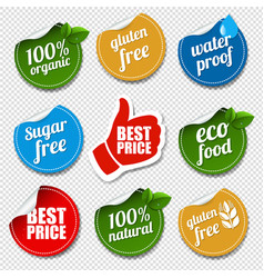 product labels set transparent background vector image