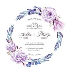Purple rose wedding invitation card template vector