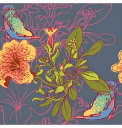 Seamless floral background with petunia vector