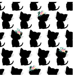 seamless pattern with cute black cat vector image