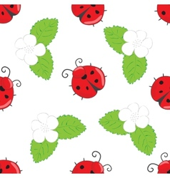 Seamless pattern with ladybugs vector image