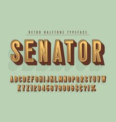 Senator trendy vintage display font design vector