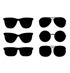 Set black sunglasses and glasses silhouettes vector