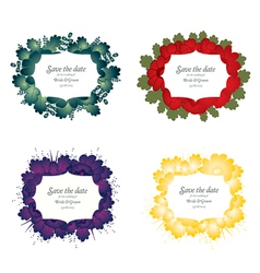 set flower wedding card vector image