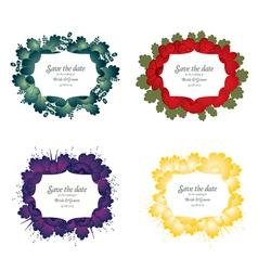 Set of flower wedding card vector image