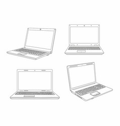 set of laptop line style design vector image