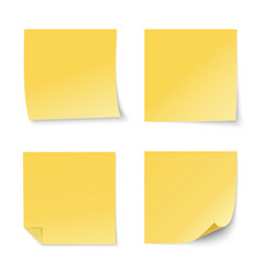 set yellow paper stickers vector image